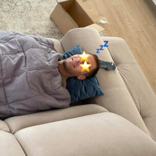 Man with Weighted Blanket