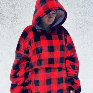 Woman with Red BBQ Hoodie Blanket