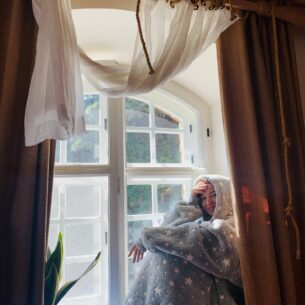 Hoodie Blanket on Rainy Day